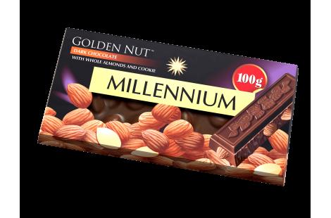 """Шоколад """"Millennium Gold"""" чёрный с цельным миндалём"""