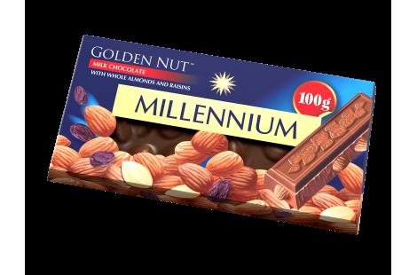 """Шоколад  """"Millennium Gold""""  молочний з цілим мигдалем та родзинками"""