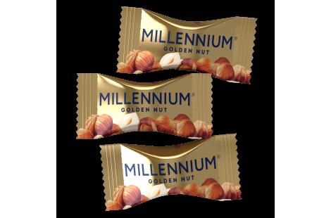 Цукерки шоколадні Millennium «Golden Nut» з начинкою та цілими горіхами 1кг
